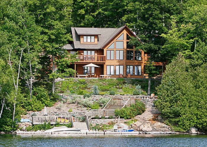 Luxury home and cottage on a lake.