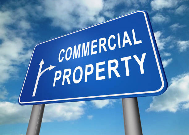 Commercial Real Estate Sign Represents Property Leasing Or Realestate Investment. Includes Offices And Land Leasing - 3d Illustration
